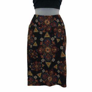 LuLaRoe   Sz S Black Geometric Cassie Knee Length Pencil Skirt